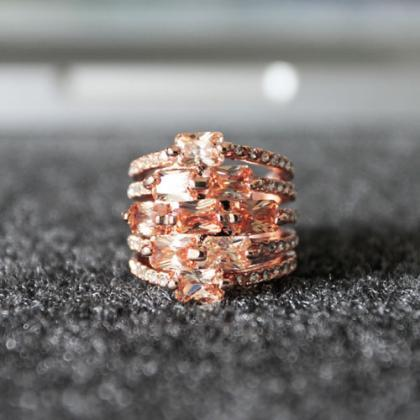Ladies Rose-Gold Colored Zircon and..