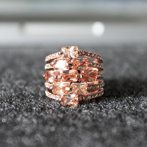 Ladies Rose-Gold Colored Zircon and Rhinestones Stack Ring