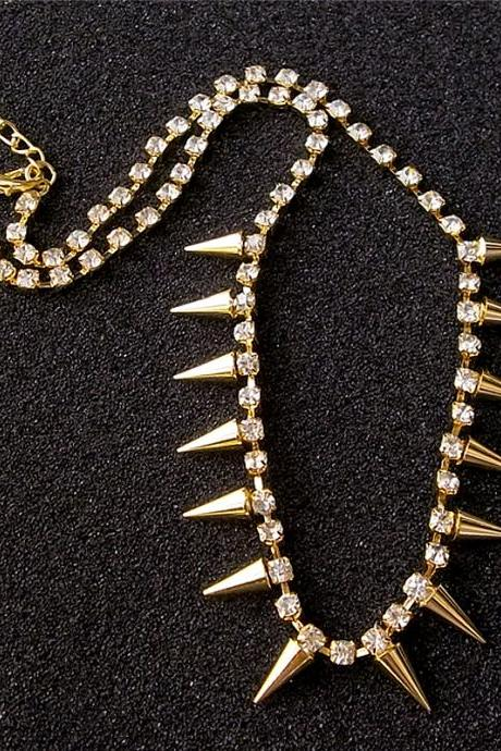 Punk Metal Spikes and Rhinestone Necklace for Ladies, Punk Golden Crystal Spikes Necklace