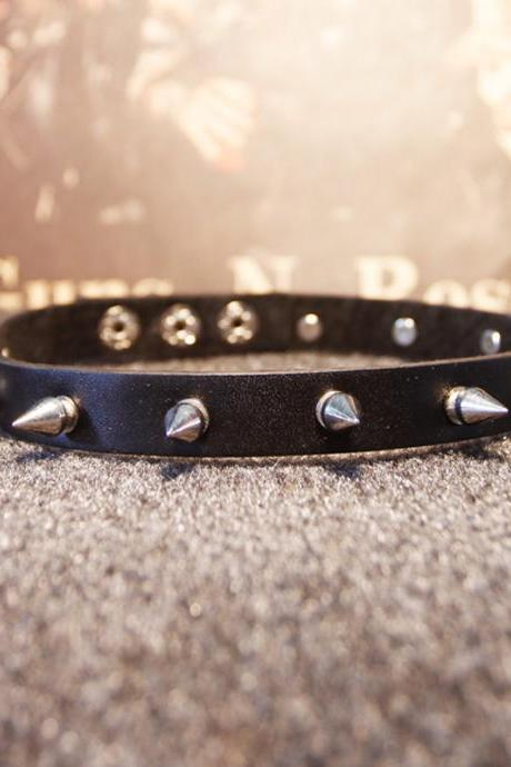 Punk Style Black Leather Choker Punk Gothic Spikes Studded Leather Choker Punk Spiked Choker Sexy Choker Necklace