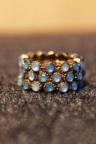 Ladies Uni-size Vintage 3PCs Index Finger Ring Set Blue Gemstone Ring Set