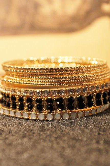 Punk Bohemian Stackable Mixed Bangle Bracelet Set 10 PCs