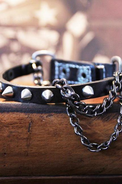 Punk Metal Chain Leather Wristband Bracelet, Punk Rock Spikes Studded Wristband