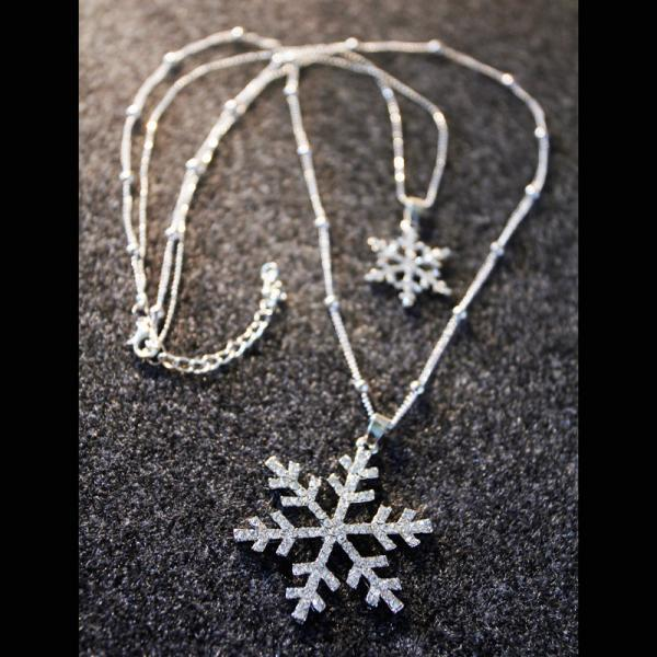 Ladies Rhinestones Snowflakes Double Strand Necklace